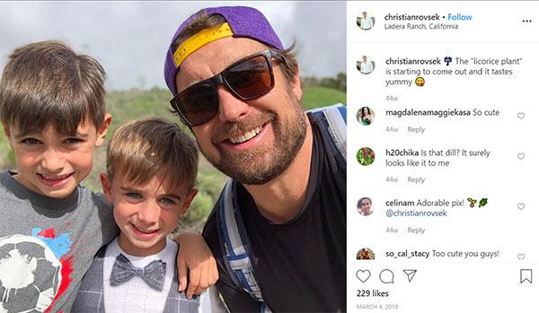 Image of Caption: Chrisitan Rovsek with his son Preston and Kingston