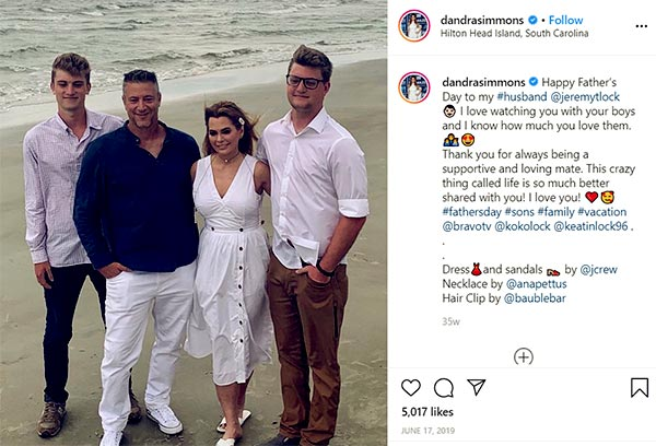 Image of Caption: D'Andra with husband and sons